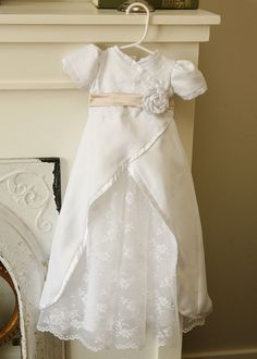 Baptism / Blessing silk lace wrap dress by llheron on Etsy,
