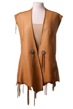 One of a kind Deer Skin Vest weeks to ship) - Ann N Eve Exclusive - Made to Order - Womens Western Wear - Men's style, accessories, mens fashion trends 2020 Western Wear For Women, Women Wear, Tan Skirt, Leather Vest, Leather Skirts, Leather Leggings, Cowhide Leather, Deer Skin, Apparel Design