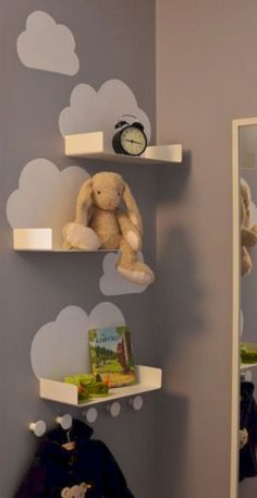 Cloud shelves for the kids room - just a little bit of white paint and some simple and inexpensive bathroom shelves from Ikea (Enudden series) Baby Bedroom, Baby Boy Rooms, Baby Room Decor, Nursery Room, Kids Bedroom, Nursery Decor, Kids Rooms, Wall Decor, Diy Wall