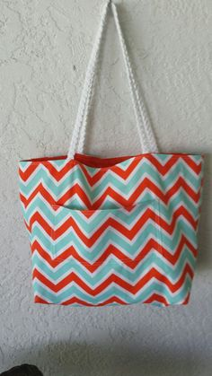 Orange Turquoise Chevron Beach Tote Bag with by BagsbyKelly