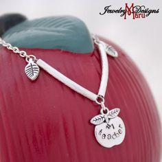 #1 Teacher Silver Apple Charm Bracelet with Your Choice Of Crystal | whosmaru - Jewelry on ArtFire