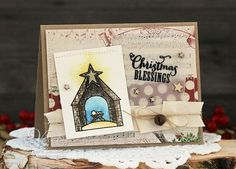 Handmade Christmas card by Laurie Schmidlin using the Weary World set from Verve.  #vervestamps