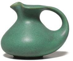 "Teco handled vessel, designed by Gates, covered in a good green matt glaze, impressed marks, #56, 3.25""h"