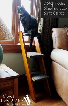 Hand Crafted 3 Step Cat Ladder | Cat Ladder Feline Furniture