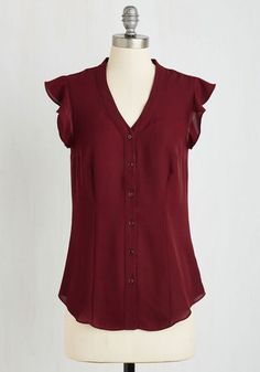 Thread and Flutter Top in Merlot by Myrtlewood - Red, Solid, Work, Casual, Short Sleeves, Woven, Exclusives, Variation, V Neck, Buttons, Private Label