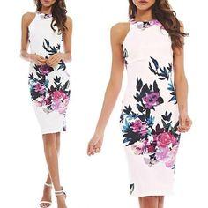 Летних женщин сексуальный рукавов экипажа шеи цветок печатных Bodycon тонкий Fit платье – купить по низким ценам в интернет-магазине Joom