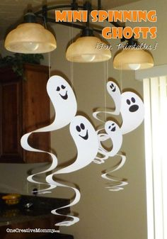 DIY Halloween : DIY Cardboard Spinning Ghosts  : DIY Halloween Decor