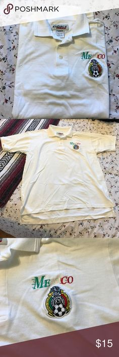 💠 4/$20 SALE Men's Mexico polo White polo with Mexico soccer logo on left. Only worn once Shirts Polos