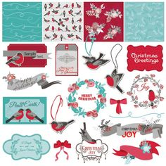 Free Vector illustration of Merry Christmas vintage Greeting card and poster decoration design elements