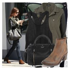 """lily collins shopping in beverly hills"" by cla-90 ❤ liked on Polyvore featuring J Brand, Ray-Ban, Topshop, Monki, Zadig & Voltaire and Diesel"