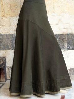 Aysmmetrical Flared Maxi Skirt