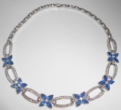 Vintage Rhinestone Necklace Sapphire Blue by Libbysmomsvintage