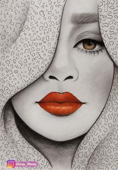 Portrait with red lips - Art Sketches Dark Art Drawings, Pencil Art Drawings, Oil Pastel Art, Girl Drawing Sketches, Tangle Art, Eye Art, Art Sketchbook, Doodle Art, Cartoon Art