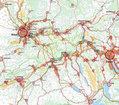 Geografische Karte mit der Darstellung des grenzüberschreitenden Raumentwicklungskonzepts Nordwest+ Painting, Concept, Cards, Painting Art, Paintings, Painted Canvas, Drawings