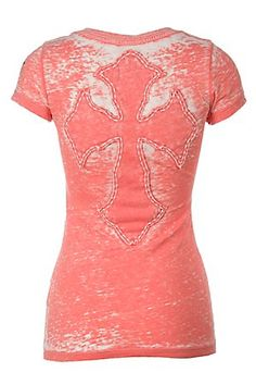 Velvet Stone Ladies Coral with Cross Short Sleeve Burnout Tee