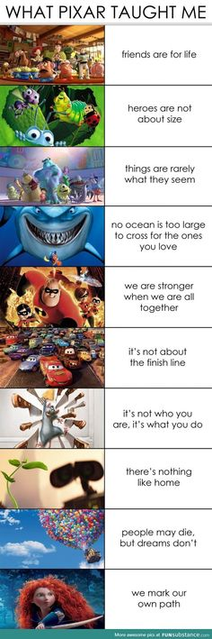 Funny pictures about What Pixar Taught Me. Oh, and cool pics about What Pixar Taught Me. Also, What Pixar Taught Me photos. Humour Disney, Funny Disney Memes, Disney Facts, Funny Memes, Funny Videos, Pixar Facts, Funniest Memes, Disney Cartoons, Disney Amor