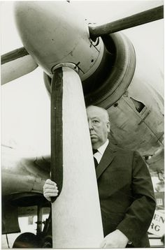 Alfred Hitchcock on the set of North by Northwest (1959).