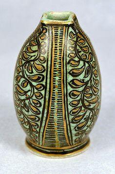 Royal Delft DE PORCELEYNE FLES Green Craquele Crackle Holland Pottery 1940-76
