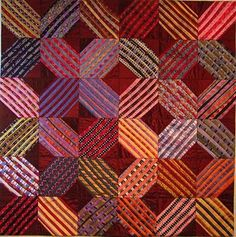 "herminehesse: "" Cross Roads quilt pattern - made from old silk ties! """