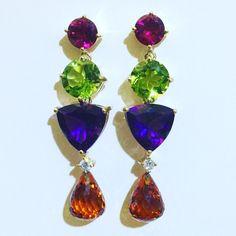 John Meier @jmeierfinejewelry. Happy mix of color in a drop earring. #peridot #tourmaline #amethyst #citrine
