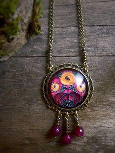 Art Nouveau necklace Magenta floral Art Nouveau by TriccotraShop