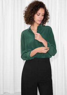 & Other Stories image 1 of Straight Fit Silk Shirt in Dark Green