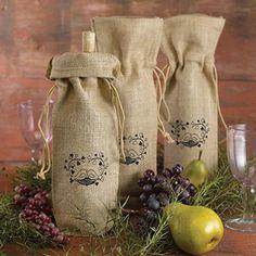 Burlap Wine Bag - Love Birds