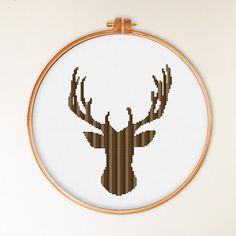 Deer Head Small pattern modern cross stitch pattern by ThuHaDesign