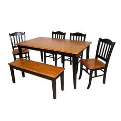6 Piece Shaker Dining Set   Black/Oak Maybe?