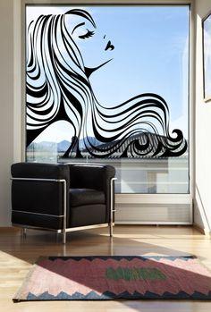 Beautiful sleeping lady removable wall art decor by window decals Salon Art, Home Salon, Decoration Vitrine, Salon Signs, Beauty Salon Decor, Hair Shop, Salon Style, Window Decals, Window Art