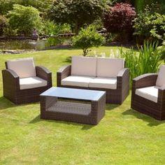 Homebase Mixed Brown Grenada 2 Seater Rattan Garden Sofa Set