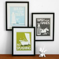 Kids Bathroom Art Prints Wash Your Hands Brush Your Teeth Children S Bathroom Wall Art Pick 3 Bathroom Rules Art For The Bathroom