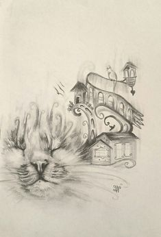 A sketch of a little cat with a dream resting on a whisker