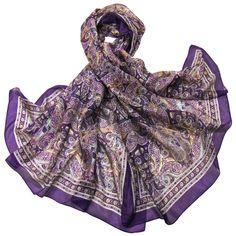 Etole en soie violet cachemire paisley premium - Etole soie - Mes Echarpes