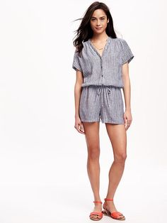Striped Linen-Blend Romper for Women Product Image