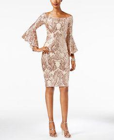 Betsy Adam Sequined Off-The-Shoulder Dress Women - Dresses - Macys Elegant Dresses, Beautiful Dresses, Formal Dresses, Mother Of Groom Dresses, Review Dresses, Bell Sleeve Dress, Sequin Dress, Special Occasion Dresses, Dress To Impress