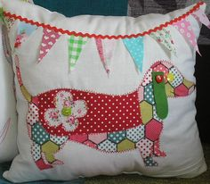 Sew your own Dog Cushion Kit Dachshund Applique Cath Kidston cotton Fabric New