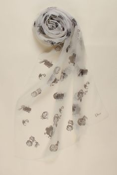 Dior Etole Organza Imprimee Scarf In White & Black - Beyond the Rack