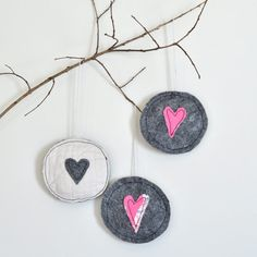 3 Pink and Grey Ornaments: Made from Vintage Quilts and Felt