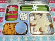 Snowflake bento lunch and PlanetBox review. #bento #snowflake @Jan Wilke Davis Box www.facebook.com/BentoSchoolLunches