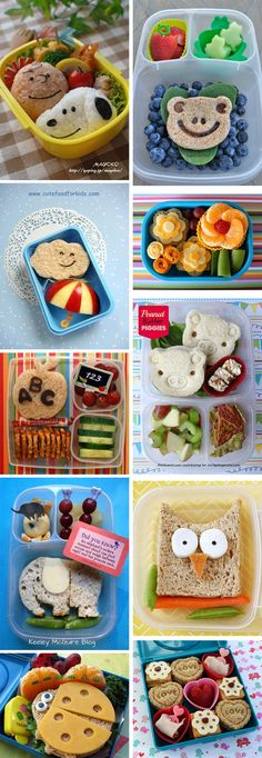 10 Clever & creative lunchbox ideas Style My Child. I especially like the Peanuts Gang one :) Lunch Snacks, Lunch Box, Healthy Kids, Healthy Snacks, Cute Food, Good Food, Toddler Lunches, Toddler Lunchbox Ideas, Lunch Ideas