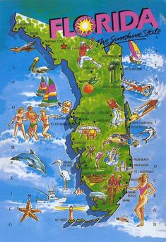 How come only whites can have fun? Florida map - we have been to St Augustine and Daytona Beach! Loved the beach and the NASCAR race. Florida Girl, Old Florida, Vintage Florida, South Florida, Florida Maps, Florida Living, Visit Florida, Florida Tourism, Florida Travel