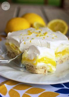 Lemon Lush Dessert - This light and creamy citrus dessert is the perfect treat to enjoy after a delicious summer meal from the grill! #FireUptheGrill #ad