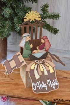 Nativity box card from JGW Believe #svgattic #svg