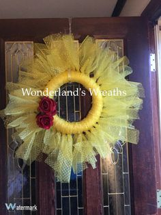 """Beauty and the Beast inspired tulle, Disney inspired, Princess Belle wreath 12""""-18"""""""