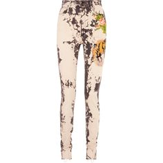 Gucci Appliquéd bleached high-rise skinny jeans (20,265 MXN) ❤ liked on Polyvore featuring jeans, pink high waisted jeans, button-fly jeans, high-waisted jeans, high waisted jeans and skinny fit jeans