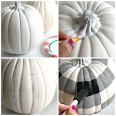 DIY Painted Buffalo Check Pumpkins - An easy fall craft project idea! - - DIY Painted Buffalo Check Pumpkins - An easy fall craft project idea! Costume Halloween, Fall Halloween, Halloween Crafts, Holiday Crafts, Thanksgiving Arts And Crafts, Thanksgiving Cards, Halloween Pumpkins, Easy Fall Crafts, Pumpkin Crafts