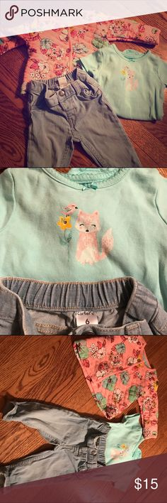 """3pc """"fox & flowers"""" outfit for baby girl Adorable outfit for baby girl that includes light leash jeans, flowered quilted jacket and fox printed short sleeve onesie. Never worn, but washed. Weather changed before my daughter was able to wear it. Carter's Matching Sets"""