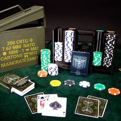 """A full 300 chip poker set and two custom decks, all comfortably nestled in an authentic ammo case. """"Ammo Can Poker Set Man Crate"""" Cool Gifts, Best Gifts, Man Gifts, Man Cave Must Haves, Man Crates, Poker Set, Ammo Cans, Gift Baskets For Men, Custom Decks"""