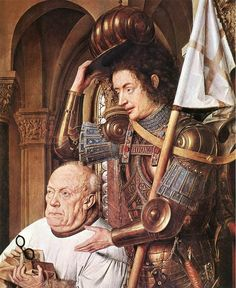 Eyck, Jan van - The Madonna with Canon van der Paele (detail) - Oil on wood